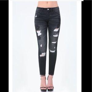 Bebe Heartbreaker black skinny jeans
